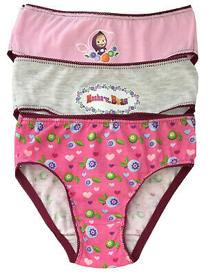 MASHA AND THE BEAR BRIEFS PANTS KNICKERS - COTTON - Pack of 3