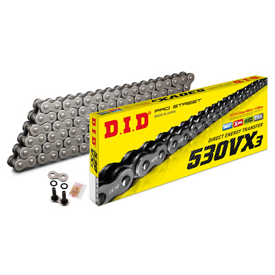530VX Black DID Motorcycle Heavy Duty 114 Link Chain With Rivet Link