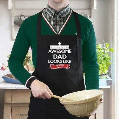 Personalised Kitchen Apron Custom Printed Gift Dad Chefs Cotton Quality Black