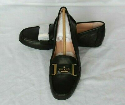 24a3f4119b9e NEW Black KATE SPADE Leather COLETTE Gold Logo LOAFER Flats Women s Shoes  8.5