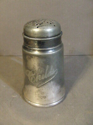 Antique Kniffer & Tooker Engraved Childs Handled Silverplate Sugar Muffineer