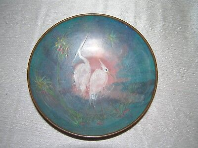 Vintage Enameled Copper Bowl Dish with Snowy White Egrets or Cranes in Water