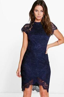 ea6ee87cd0a Boohoo Leah Eyelash Lace Curved Hem Bodycon Dress Navy Size UK 12 DH085 JJ  14