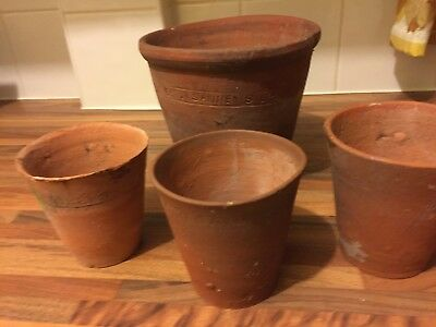 """4 Old Hand Thrown Sankey Bulwell Terracotta Antique Plant Pots 6.5"""" Dia +3.5"""" X"""