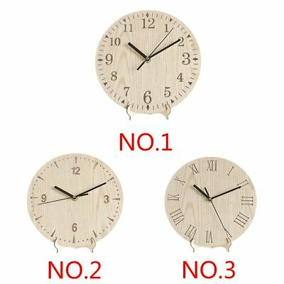 Rustic Vintage Round Wooden Wood Wall Clock Hanging Standing Room Decor
