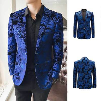 Fashion Lapel Wedding Dress Men's Slim Suits Blazer Printed Floral Jacket Coat