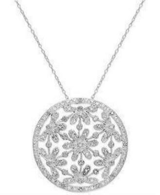 Victoria Townsend $300 Sterling Silver 18-in Diamond Flower Circle Necklace NWT