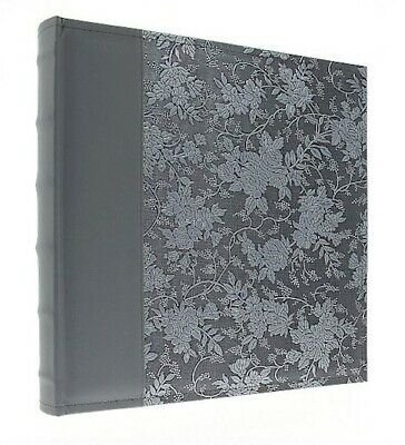 "Eco Leather Slip In Photo Album Holds 500 6"" x 4"" Photos Memo Area Grey/Silver"