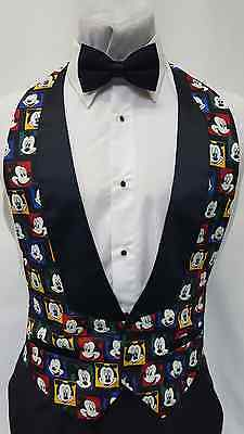 1d1bb5336ebb Medium Mens Mickey Mouse Formal Tuxedo Vest & Black Bow Tie Walt Disney  Classic