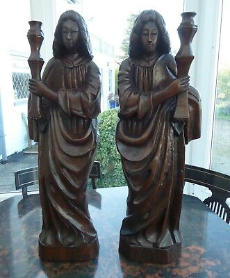 Large Carved Country Oak Church Candlesticks 32 Inch  Free Shipping To England