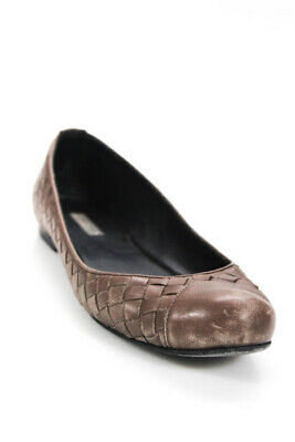 3f67b9eeecb BOTTEGA VENETA BROWN Woven Leather Ballet Flats Size 36.5 6.5 ...