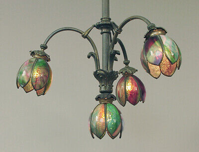 A French 4-Light Chandelier Ca. 1915, Bronze Patina, American Handel-like Shades