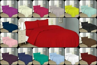 Plain Dyed Duvet Cover With Pillow Case Easy Care Non-iron Quilt Cover Bed Set