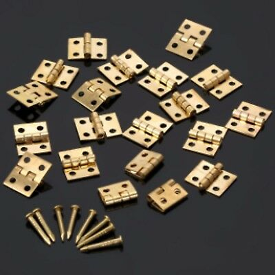 10x Mini Tiny Gold Tone Hinges Jewellery Boxes Small Hinge Craft WITH Nails B