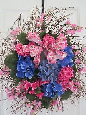 Spring Door Wreath Blue Hydrangea Wreath Hot Pink Geraniums Summer
