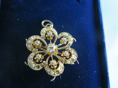 Vintage Estate 14k Gold, 0.4tct Diamond & Pearl Pin Pendant Brooch (#372)