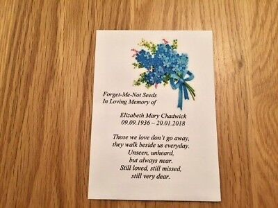 10 Personalised Forget-Me-Not Seeds Funeral Envelopes, Memorial, In Memory of,
