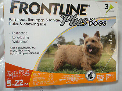 FRONTLINE PLUS DOGS 5-22Lbs FLEA & TICK CONTROL 3 DOSES NEW, SEALED