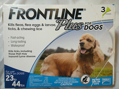 FRONTLINE PLUS DOGS 23-44Lbs FLEA & TICK CONTROL 3 DOSES NEW, SEALED