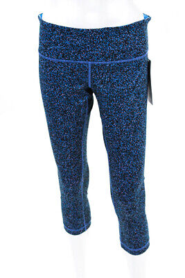 d204c1ba46870e Lululemon Womens Wunder Under Cropped Leg Athletic Leggings Blue Print Size  10