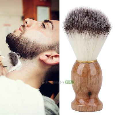 1PCS Men Wood Handle Shaving Bear Brush Hair Facial Beard Cleaning Barber Tool