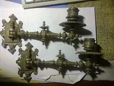 sconces for piano, candle holders, complete, antique