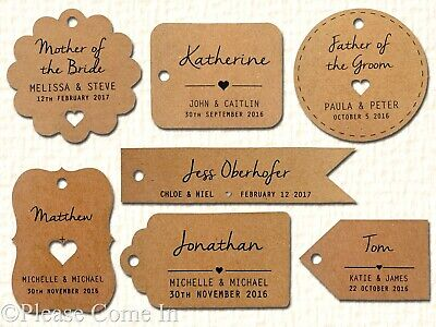 50pcs Individually Personalized Kraft Wedding Favor Gift