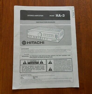 Original Hitachi HA-3 Stereo Amplifier Instruction Manual Booklet
