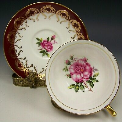 Aynsley Pink Roses Tea Cup & Saucer Teacup