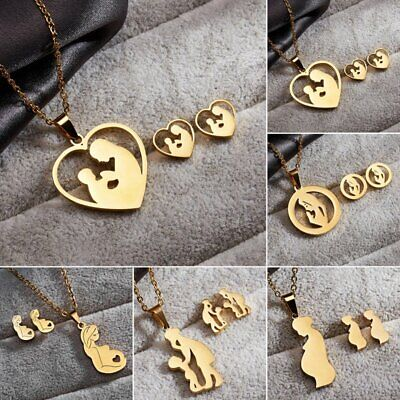 HOT Mother Heart Stainless Steel Jewelry Set Gold Chain Necklace Earrings Gifts