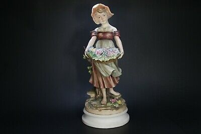 Vintage Figurine CAPODIMONTE  Girl holding basket with flowers - Made in Italy