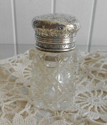 Sterling Silver & Cut Glass Perfume Bottle with Stopper c1887 Sampson Mordan