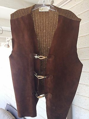 Vintage Pebble Beach of California Leather Vest Toggle XL Sweater 1970s Hippie