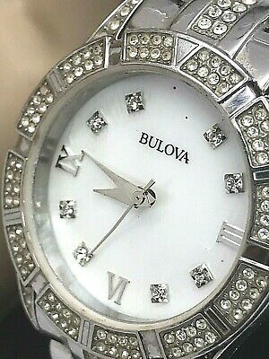 Bulova 96L116 Crystal Accented Mother of Pearl Dial SS Ladies Watch FOR REPAIR