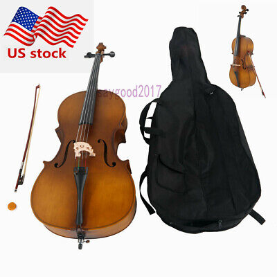 4/4 Professional&Beginner Cello Matt Wood Color Cello +Bag+Bow+Rosin Acoustic