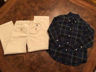 Ralph Lauren Boys Outfit Chino Pants And Shirt Size 5. EUC