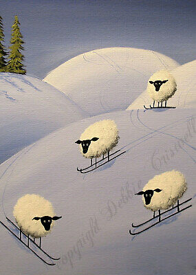 Sheep snow ski sking downhill funny quote ACEO Giclee folk art print Criswell
