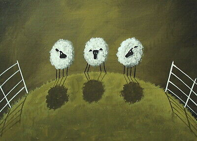 Sheep a little off today fluffy funny quote ACEO Giclee folk art print Criswell