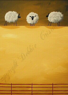 Sheep thinking contemplating funny quote ACEO Giclee folk art print Criswell