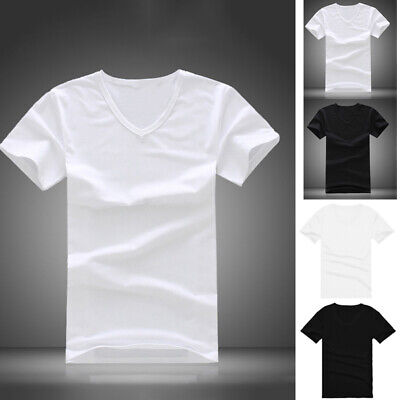 Summer Men Casual  Cotton Short Sleeve V-neck T-Shirt Tops Black White M/L-2XL