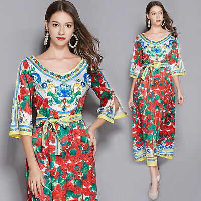 womens Vintage print sexy V-neck runway long maxi Casual beach Swing party dress