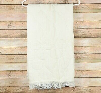 Handmade Quilted Childrens Baby Blanket 34x42 in Ivory Cream White Lace