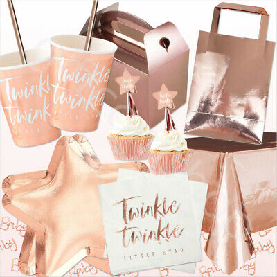 Rose Gold OH BABY Baby Shower Party Tableware Supplies Cake Topper Gender Reveal