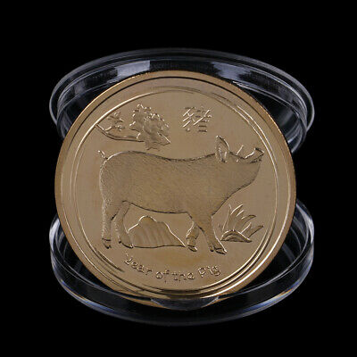 Gold Plated Pig Commemorative Coin Chinese Zodiac Collection Coin Lucky Gifts