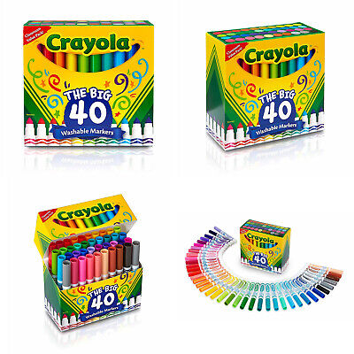 Crayola The Big 40 Washable Markers Drawing Painting School Classroom Non-Toxic