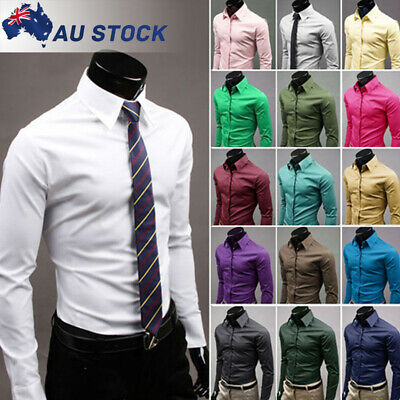Mens Long Sleeve Slim Fit Formal Dress Shirt Business Work Button Casual T-shirt