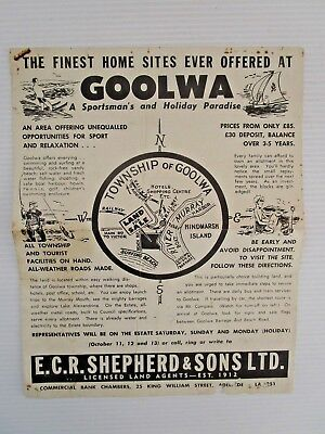 1960's GOOLWA SURVEYORS DEVELOPERS TOWNSHIP OF GAWLER - THE FINEST HOME SITES