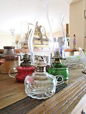 Vintage Glass Oil Lamp Finger Lamp Us Made - Gorgeous Oil Lamp Us Made