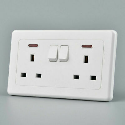 13A White Plastic Uk Double Mains Wall Socket Plug Outlet Switch Switched