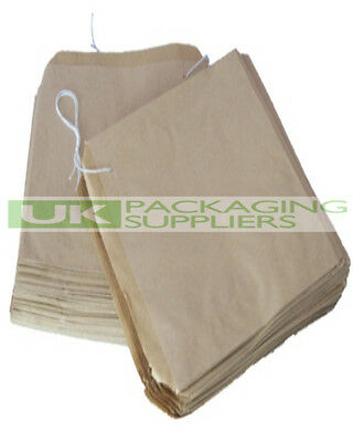 "100 LARGE BROWN KRAFT PAPER STRUNG BAGS SIZE 12.5 x 12.5"" FOOD FRUIT - NEW"
